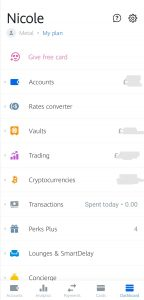 Revolut dashboard